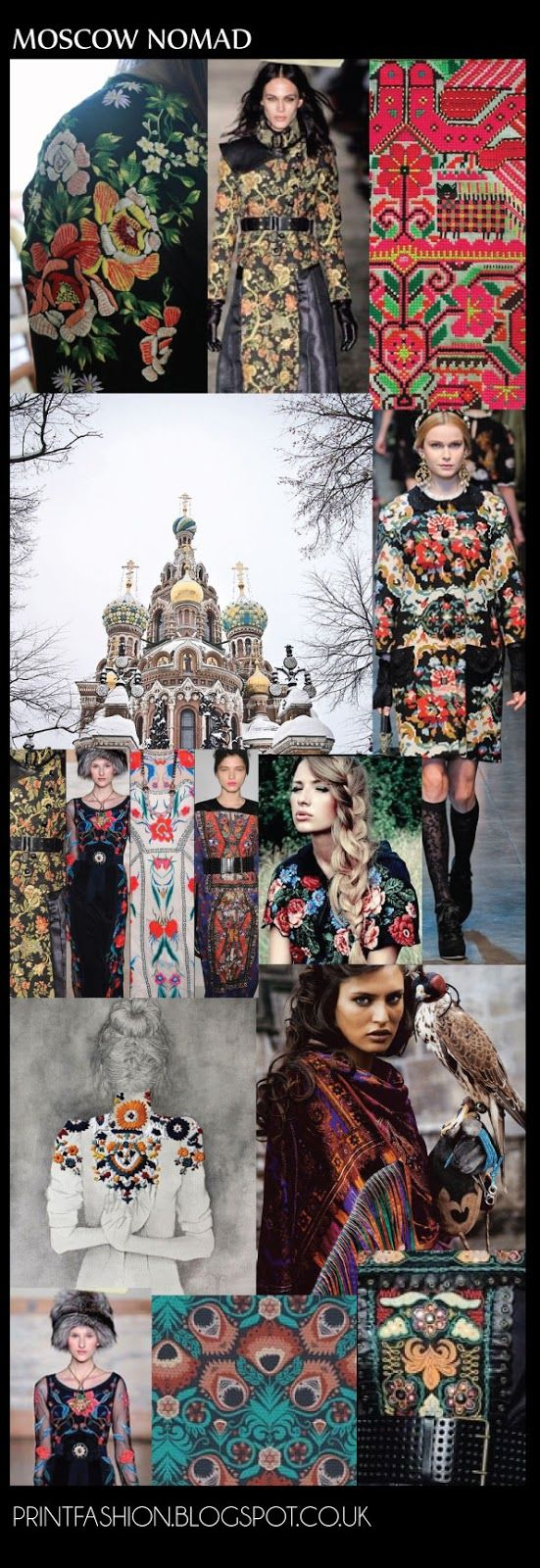 eastern europe fashion trend AW13-14: Trend Moscow Nomad is very much a folkloric inspired look. Floral Embroidery is plays a key role in this trend with lots of bright colours especially gold and rich turquoise hues.