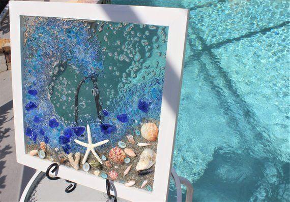 Sea Glass Art Framed Ocean Wall Art Beach Decor Coastal Wall