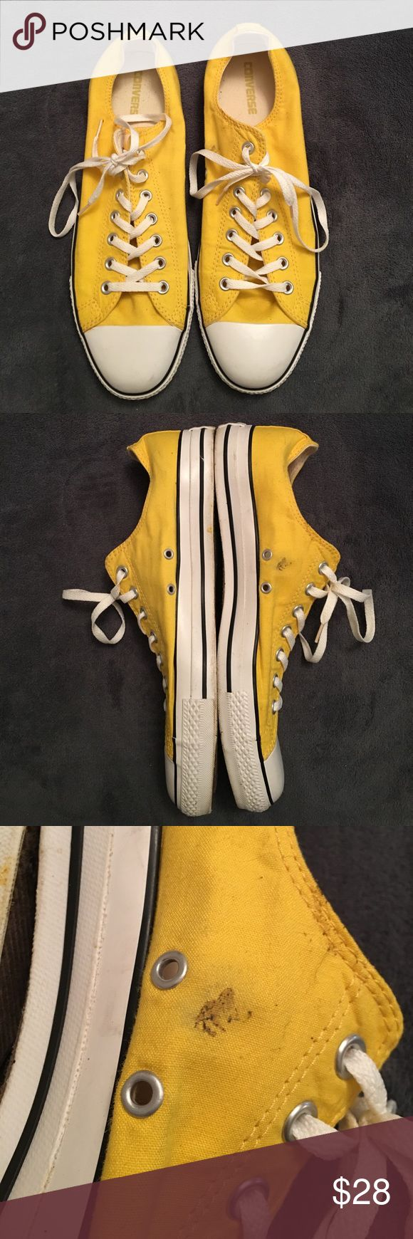 Yellow Low- Top Converse Classic Chucks. In great condition, third pic shows only flaw. Converse Shoes Sneakers