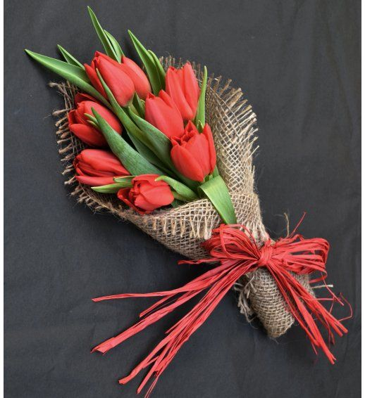 All My Love - Red Valentine's English Tulip Flower Posy
