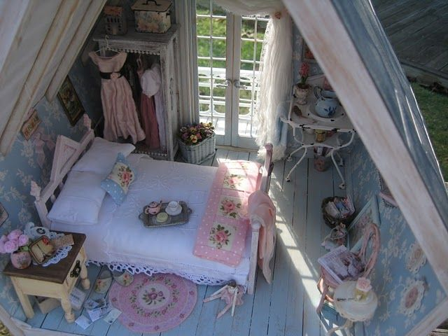 Bedroom in the Shabby Dollhouse by Liberty Biberty http://libertybiberty.blogspot.com/2010/05/finished-shabby-bedroom.html