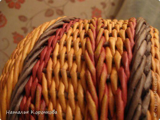 Поделка изделие День рождения Декупаж Плетение Вариации на тему косы Картон Салфетки Трубочки бумажные фото 4