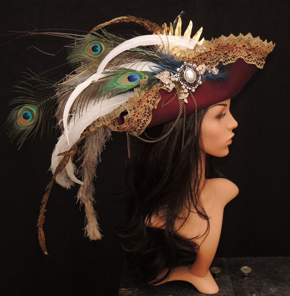 Vintage Hüte - Vintage Dreispitz-historischer Hut-Barock-Karneval - ein Designerstück von Maskenzauber bei DaWanda