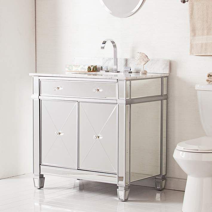 Mirage 33 Mirrored And Silver 2 Door Single Sink Vanity 39h07