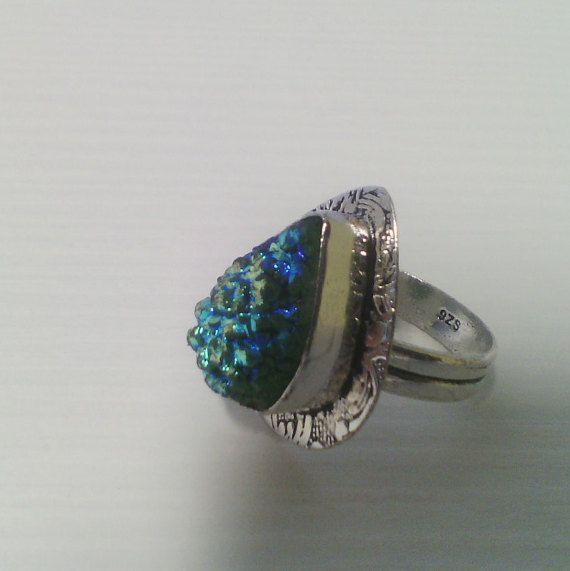 Anello pietre titanium druzy 925 Sterling Silver di Rosasbijoux