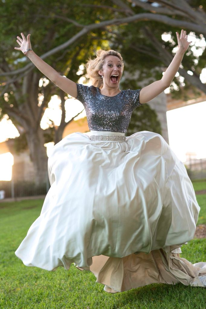 Bride jumping, Sydney wedding, sydney harbour bridge, sequins and satin skirt, water, the rocks