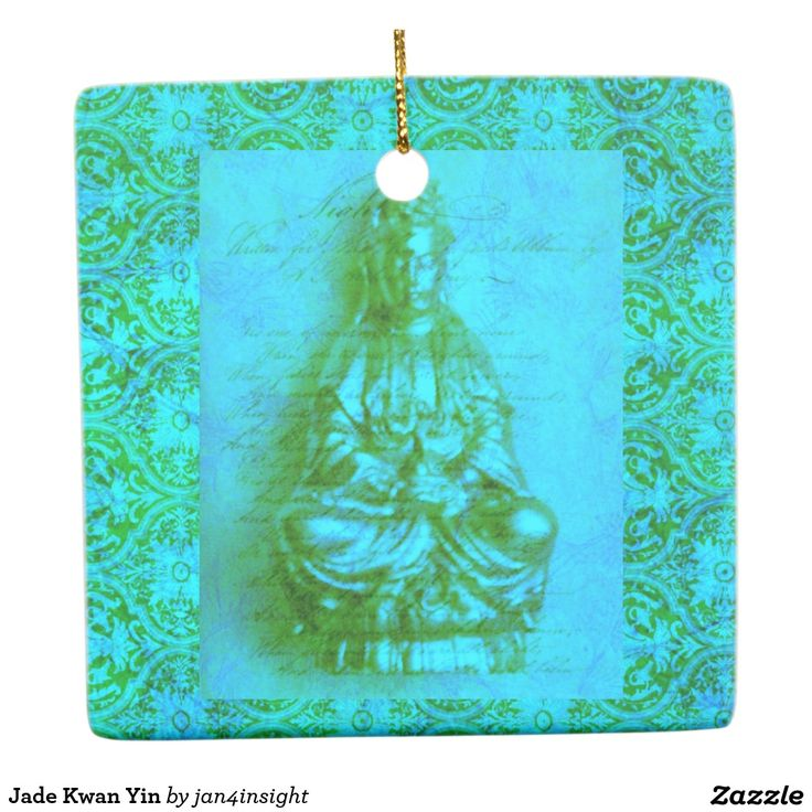 Jade Kwan Yin Ceramic Ornament