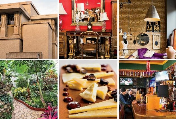 Things to do in Oak Park, IL (Clockwise from top left) Unity Temple, Divine Consign, Gem, Poor Phil's Bar & Grill, Marion Street Cheese Market, and Oak Park Conservatory