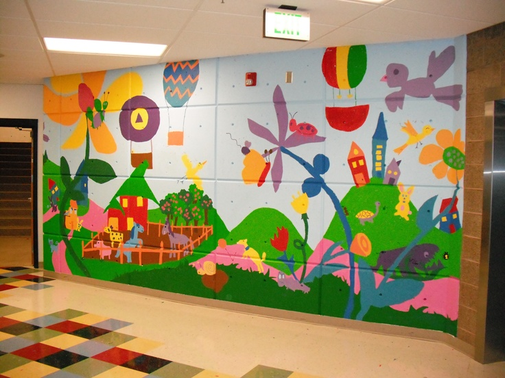 17 best images about murals on pinterest french bedroom for Elementary school mural ideas