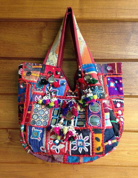 Vintage Indian Banjara Tribal Fabric Tote Bag Ethnic