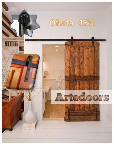 Oferta kit herraje puerta corredera r stico herrajes for Guias puertas correderas colgantes
