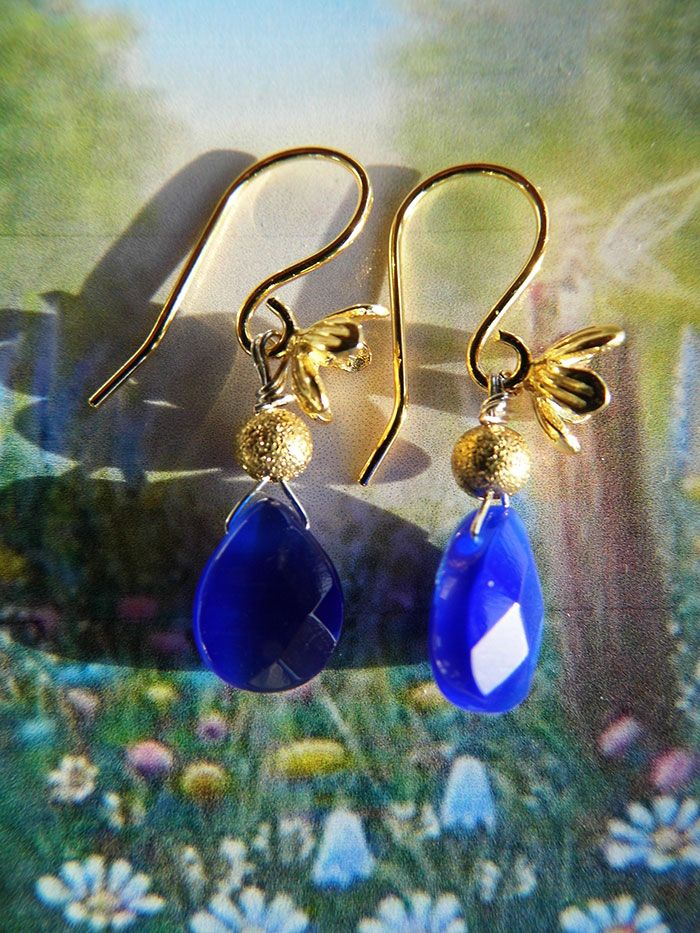 Kongeblå jade øreringe til boheme prinsessen