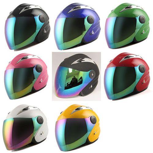 Motorcycle-Scooter-Bike-Open-Face-Helmet-Black-Blue-Green-Orange-Red-Pink-Yellow