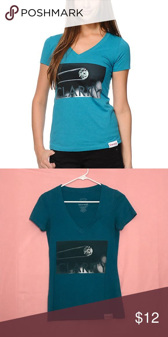 "Diamond Supply Co v-neck tee Diamond Supply Company teal ""Clarity"" v-neck t-shirt Diamond Supply Co. Tops Tees - Short Sleeve"