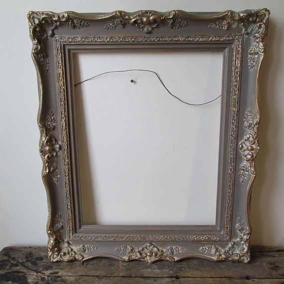 Large wood gesso frame hand painted French antique farmhouse deep brown gray distressed wall hanging home decor anita spero design