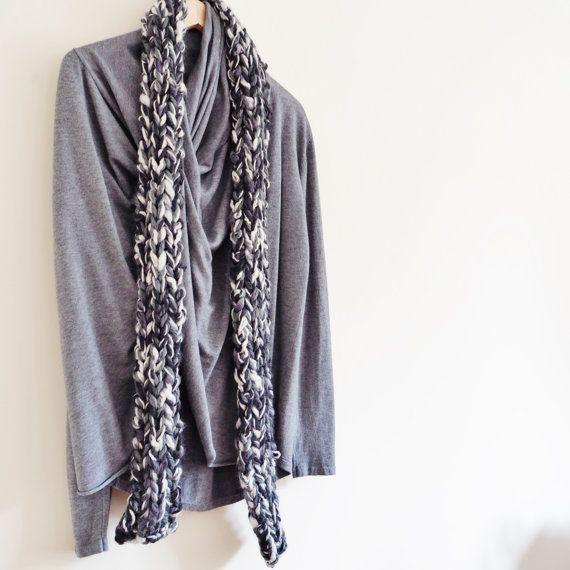 Cream and grey chunky knit scarf Grey knit scarves by OnePurlRow