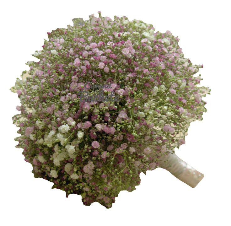 Buchet de mireasa din gypsophila colorata. Vintage, delicat, cochet.