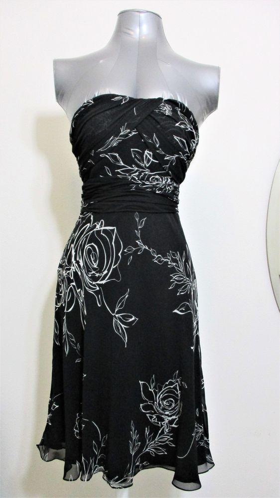 White House Black Market WHBM Sleeveless Semi-Sweetheart Floral Sundress Size 0 #WhiteHouseBlackMarket