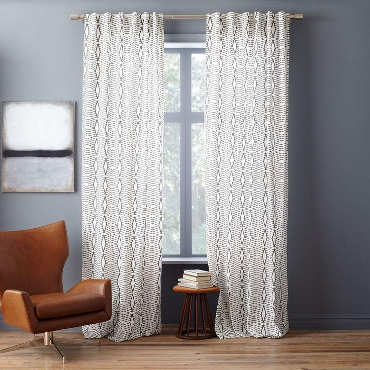Cotton Canvas Diamond Stripe Curtains Set of