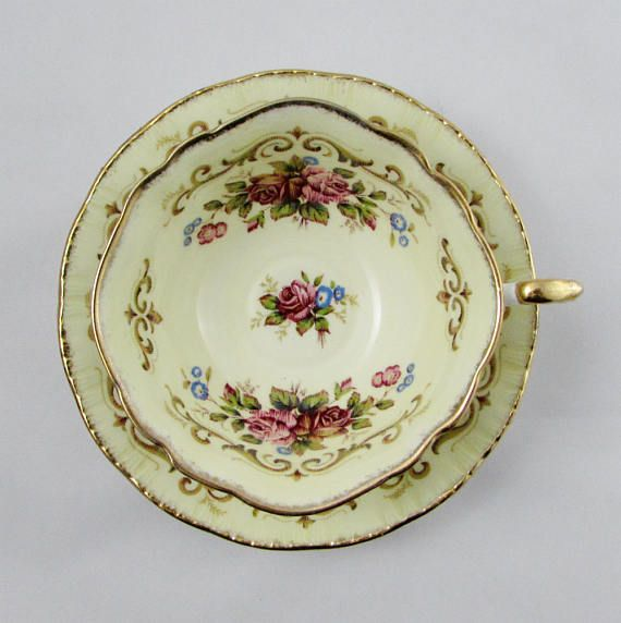 Paragon Yellow Tea Cup and Saucer Antique Series Tapestry