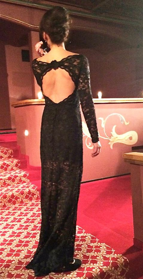 Black lace dress#long sleeves#open back #fabric from Eurokangas