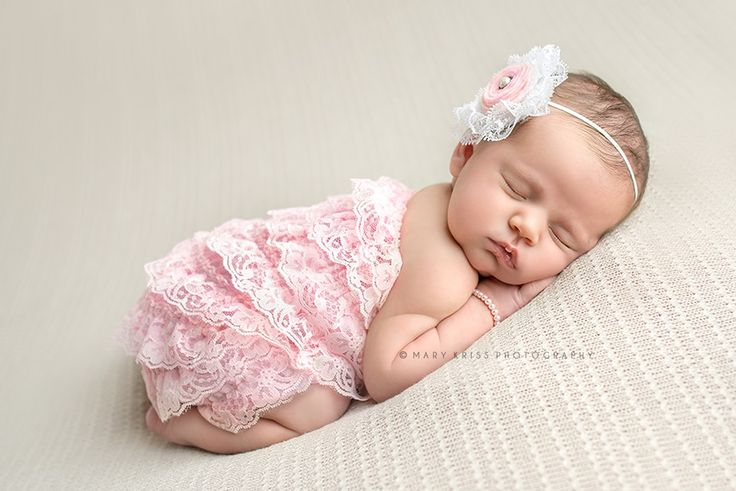 ideas for newborn photo props - Newborn baby girl Pink lace and pearls