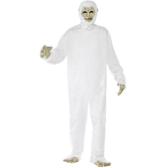 Yeti de verschrikkelijke sneeuwman kostuum voor volwassenen. Yeti bodysuit met latex masker, handschoenen en voeten.