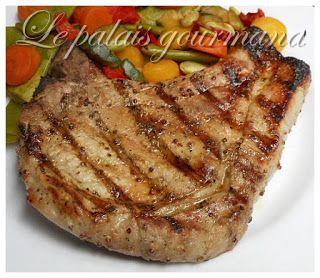 Le palais gourmand: Côtelettes de porc, grillées à l'érable, thym et m...