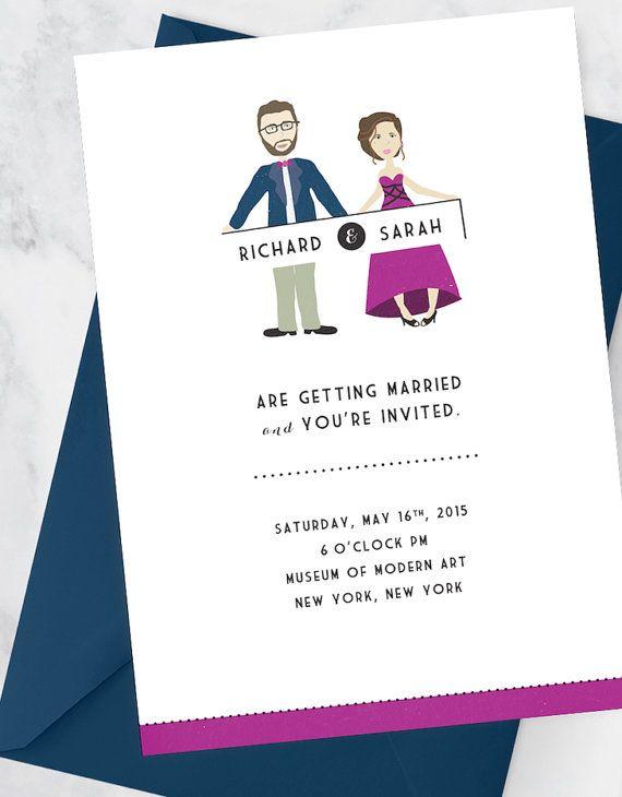 Wedding Invitation Kit With Custom Couple By MDBWeddings On Etsy