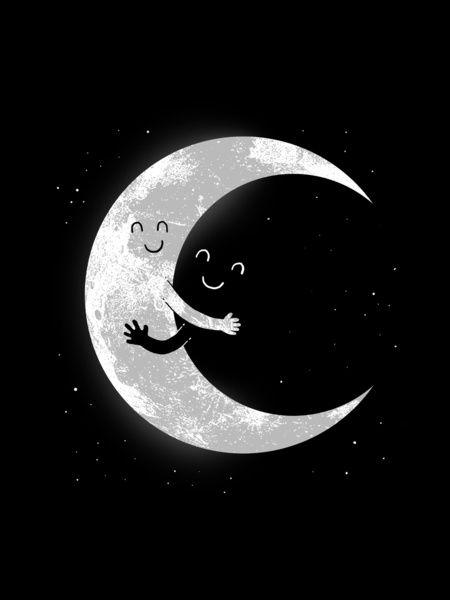 Moon Hug -  Art Print.: Goodnight Moon, Art Prints, Goodnight I, Dark Side, Hugs Art, Illustrations Prints, Cute Illustration, Cosmic Consciousness, Goodnight Everyone