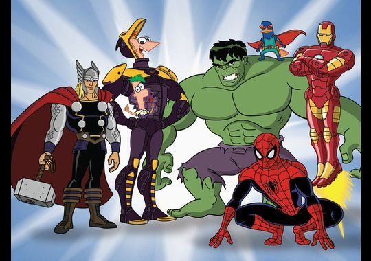 """Phineas, Ferb and Perry the Platypus join the good fight with the Avengers and Spider-Man in """"Phineas and Ferb: Mission Marvel."""" The Mission Marvel crossover TV special premieres Aug. 16 (8 p.m. ET/PT) on Disney Channel.(Photo: Disney XD)"""