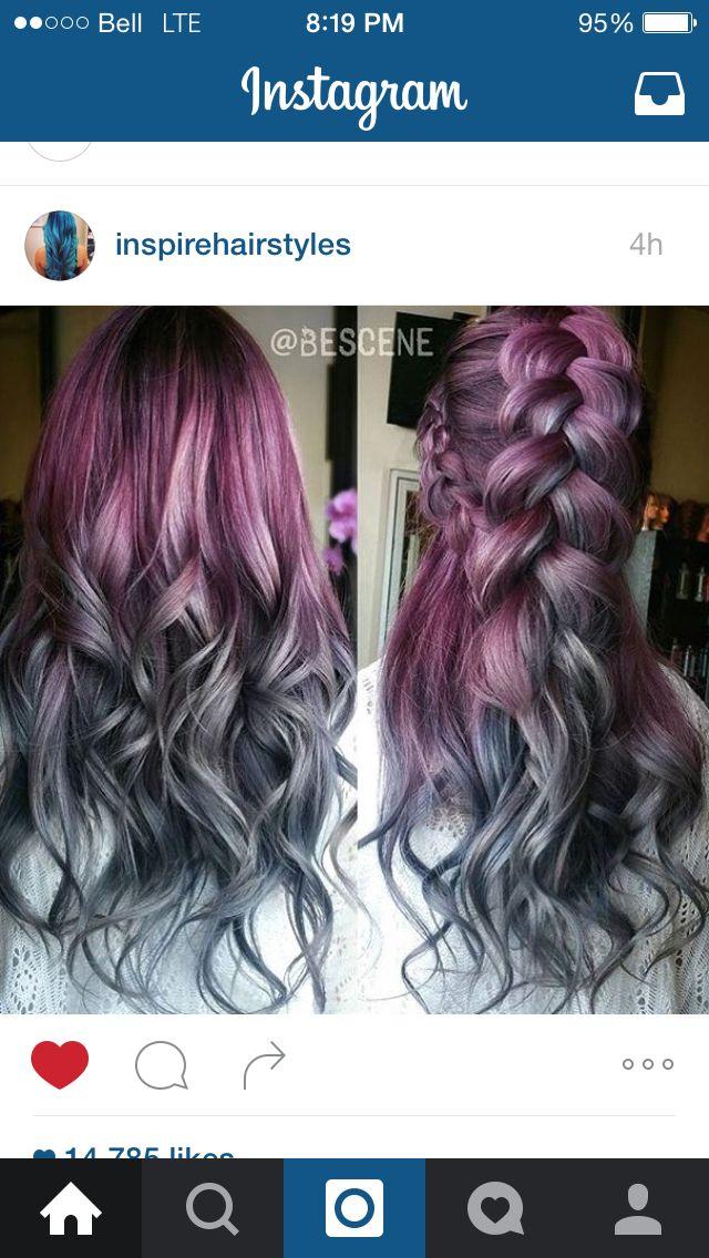 Reddish purple pink to grey ombré