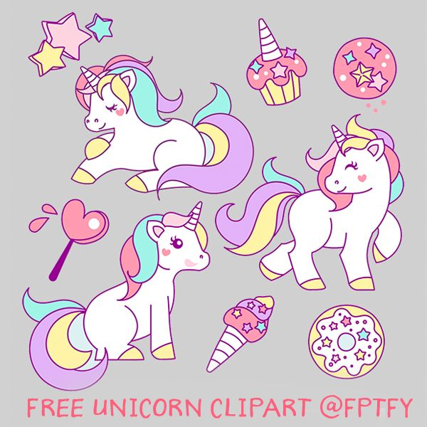 This adorable Free Hand Drawn Unicorn Clip Art is available for personal and commercial use!
