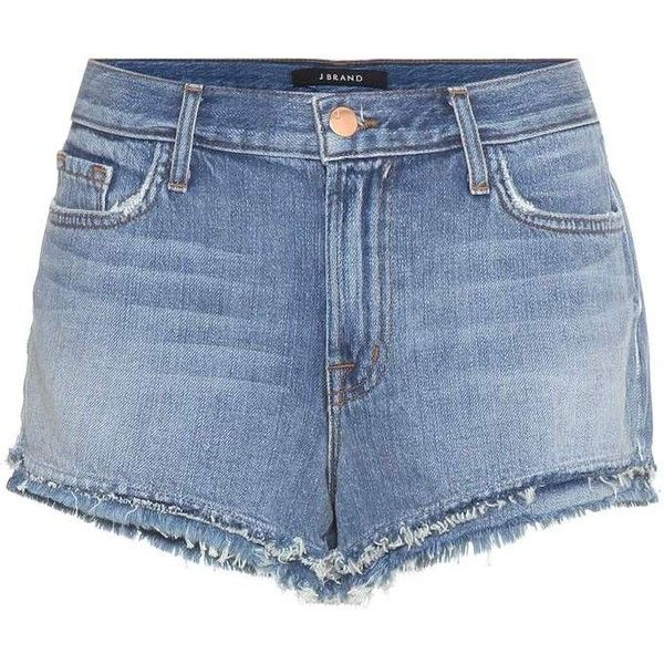 J Brand Sachi Mid-Rise Denim Shorts (11,910 DOP) ❤ liked on Polyvore featuring shorts, bottoms, blue, blue denim shorts, j brand, mid rise jean shorts, jean shorts and short jean shorts