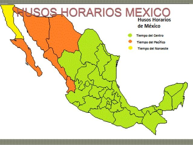 Resultado de imagen para husos y horarios de mexico