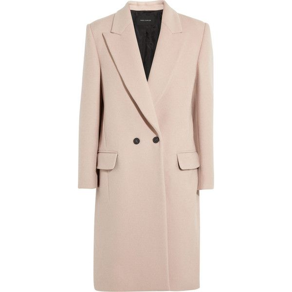 Cedric Charlier Beige Wool Blend Felt Coat ($800) ❤ liked on Polyvore featuring outerwear, coats, beige, felt coat, beige coat, pink coat, double-breasted coat and wool blend double breasted coat