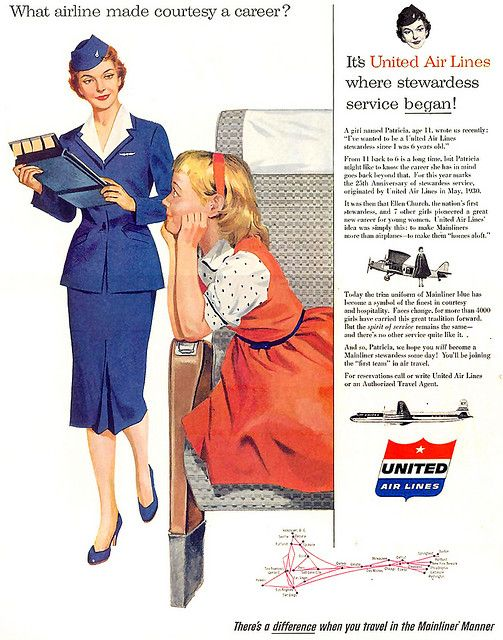 Lovely fashions for both staff and junior passengers alike in this great 1950s United Airlines ad.