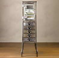 Love this look! Don't know why  Pharmacy Large Bath Cabinet with Drawers Burnished Steel | Tall | Restoration Hardware