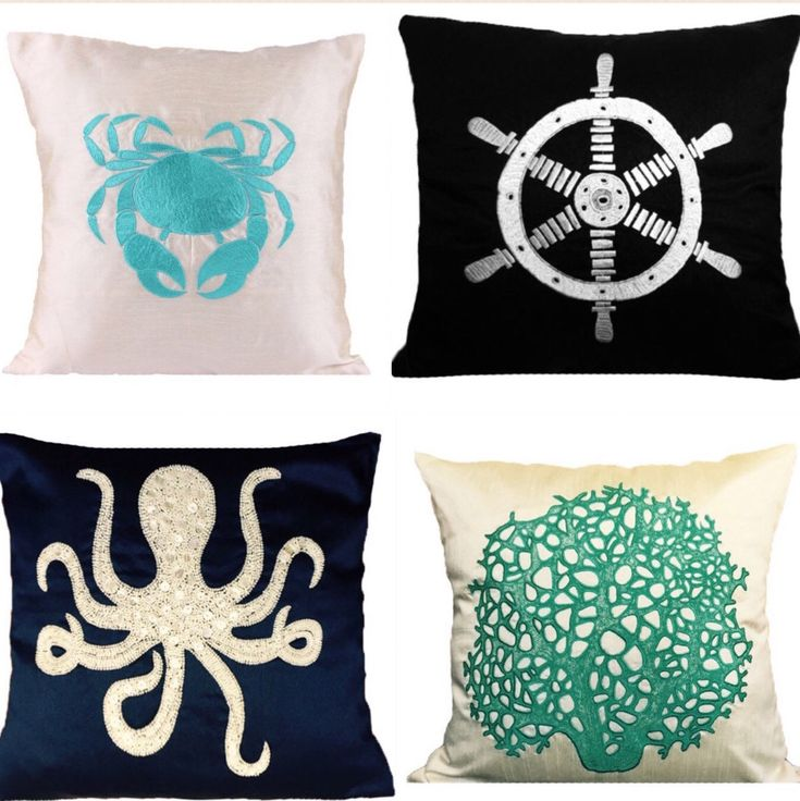 Nautical pillow covers - check out at The White Petals Decor