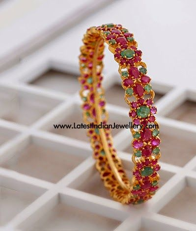 Colorful Ruby Emerald Gold Bangle Indian Jewellery Pinterest