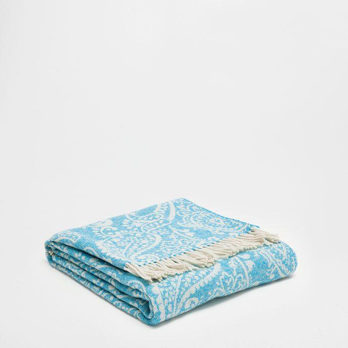 BLUE PAISLEY WOOL BLANKET - Blankets - Decoration | Zara Home Ireland