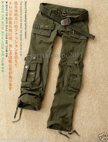 Womens Fashion Military Army Green Cargo Pocket Pants Leisure Trousers Britches | eBay