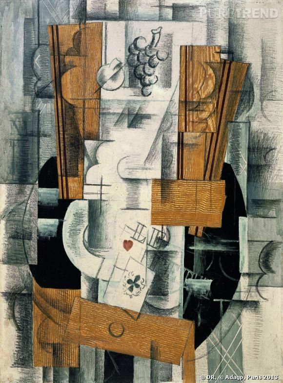"Georges Braque ""Compotier et cartes"" début 1913. Paris, Centre Pompidou, Musée national d'art moderne, don de Paul Rosenberg, 1947."