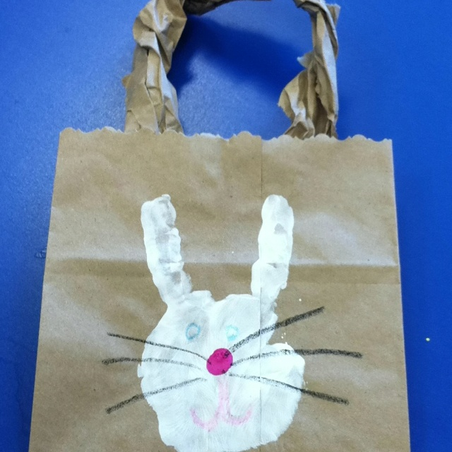 95 best easter preschool ideas images on pinterest easter kids easter baskets with handprint bunny negle Images