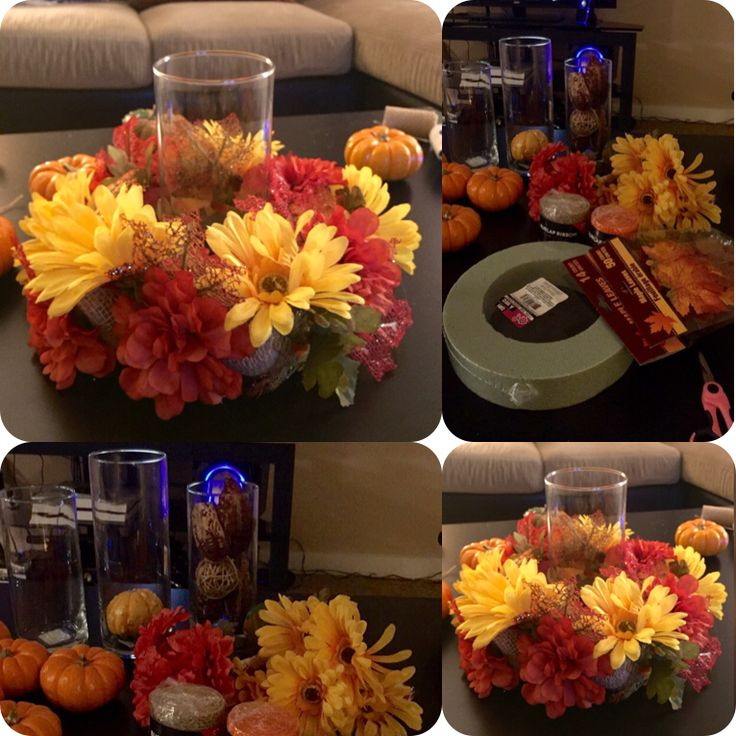 $7 Fall centerpiece. Super cute and easy to make! ( all supplies from dollar tree and target)