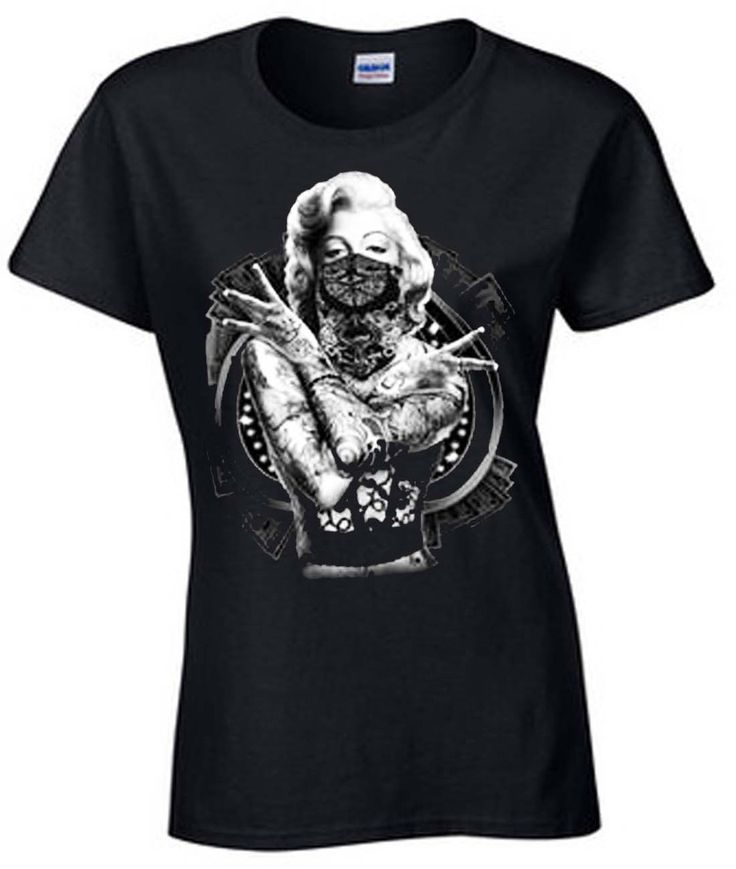 Velocitee Ladies Long Sleeve T-Shirt Marilyn Monroe Gangster Pin Up Star W16186
