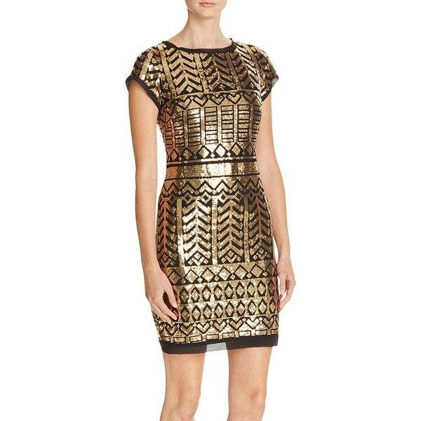 Eliza J Sequin Mini Dress ($165) ❤ liked on Polyvore featuring dresses, eliza j dresses, brown sequin dress, short dresses, sequin mini dress and sequin cocktail dresses