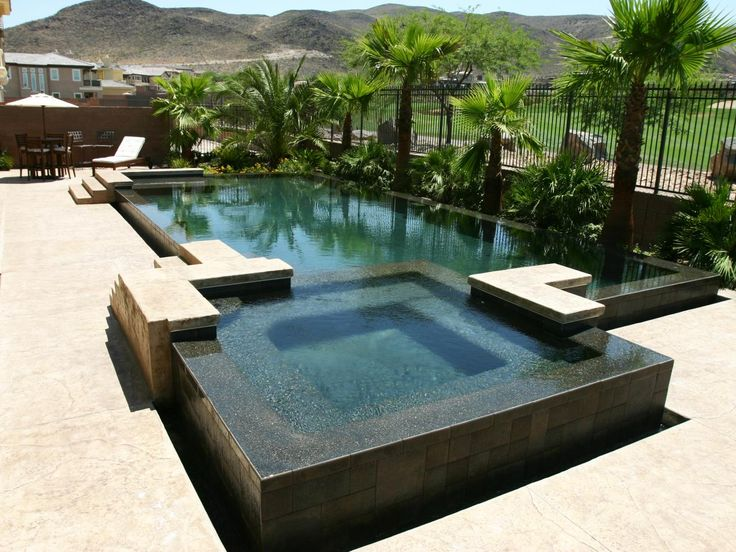 Photos Tranquil Lap Pool with Lush Landscaping including palm trees and container grown boxwoods dsdsd | Interior Design and Decorating Ideas