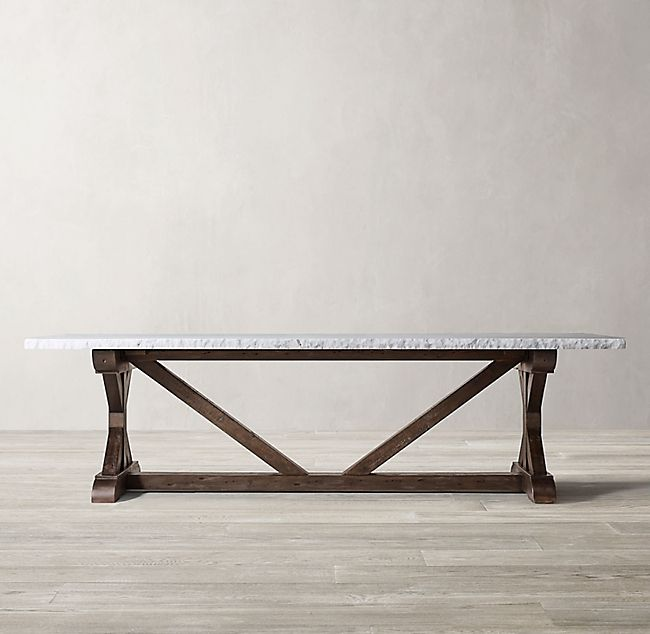 Salvaged Wood Marble X Base Rectangular Dining Table Rectangular Dining Table Dining Table Salvaged Wood