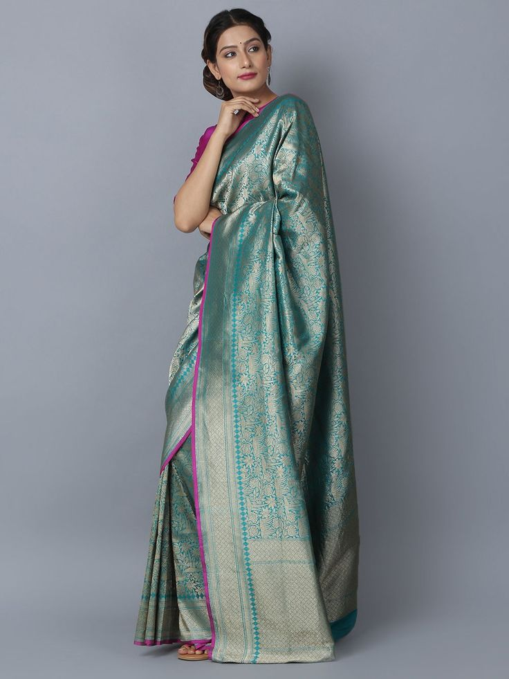Blue Silk Handwoven Banarasi Saree